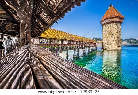 Historic Town Of Lucerne With Famous Chapel Bridge, Canton Of Lucerne, Switzerland