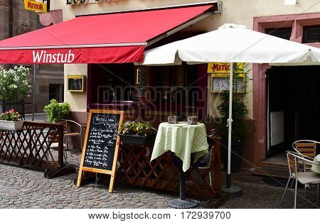 Strasbourg France - july 22 2016 : restaurant in the picturesque city center in summer