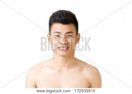 Head and shoulders portrait of a young asian handsome man. Isolated on white background with copy space