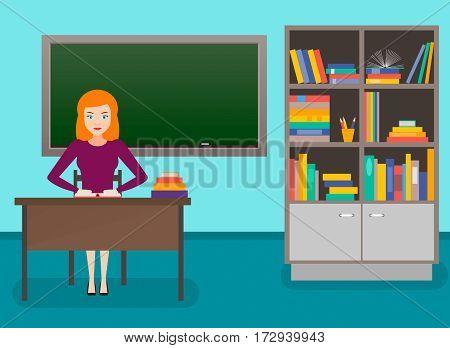 the teacher at school vector illustration. blackboard and bookcase the interior of the class. flat.