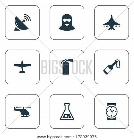 Set Of 9 Simple Army Icons. Can Be Found Such Elements As Terrorist, Helicopter, Air Bomber And Other.