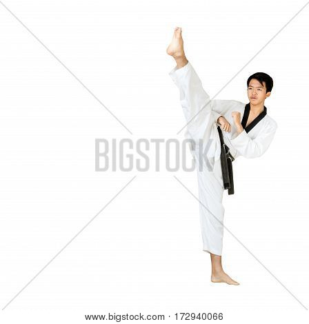 Portrait Of A Handsome Asian Man Kick With Taekwondo Black Belt . Isolated On White Background With