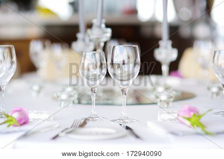 Beautiful Table Setting With Crockery And Flowers For A Party, Wedding Reception Or Other Festive Ev