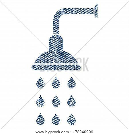 Shower vector textured icon for overlay watermark stamps. Blue jeans fabric vectorized texture. Symbol with dust design. Blue ink rubber seal stamp with fiber textile structure.