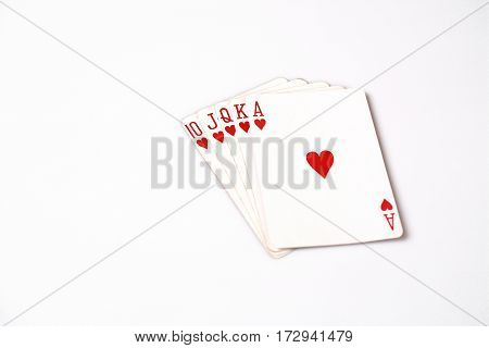 Poker hand rankings symbol set Playing cards in casino: Royal Flush on white background, luck abstract, horizontal photo with copyspace