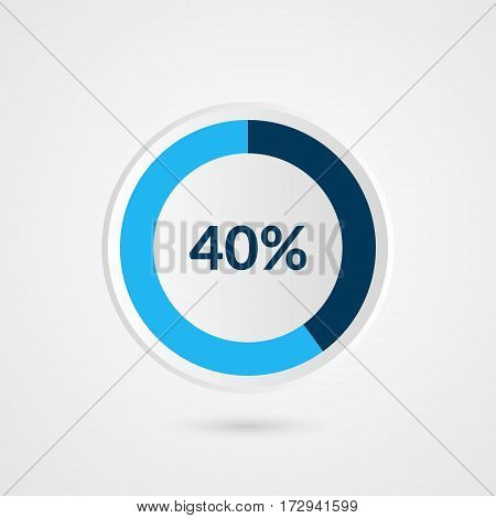 40 percent blue grey and white pie chart. Percentage vector infographics. Circle diagram business illustration