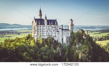 Neuschwanstein Castle At Sunset With Retro Vintage Filter, Bavaria, Germany