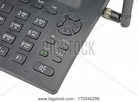 black office radiotelephone isolated on white background