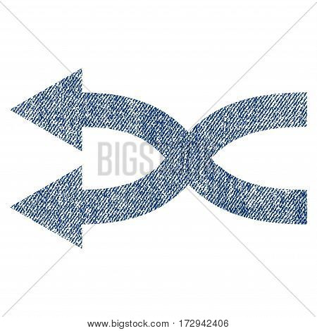 Shuffle Arrows Left vector textured icon for overlay watermark stamps. Blue jeans fabric vectorized texture. Symbol with dirty design. Blue ink rubber seal stamp with fiber textile structure.