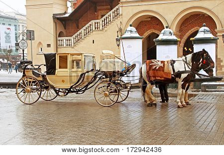 KRAKOW, POLAND - DECEMBER 29, 2010: Horse drawn carriages with two horses at old town street near Krakow Cloth Hall