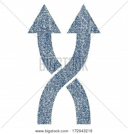 Shuffle Arrows Up vector textured icon for overlay watermark stamps. Blue jeans fabric vectorized texture. Symbol with dirty design. Blue ink rubber seal stamp with fiber textile structure.