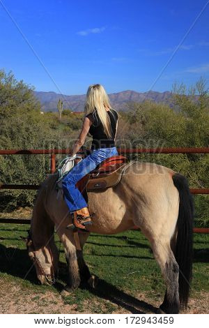Beautiful blonde lady astride buckskin horse grazing on desert grass