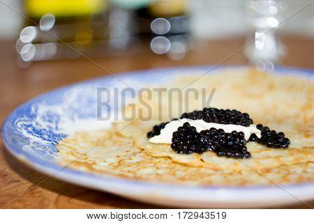 Black Caviar On Russian Pancakes