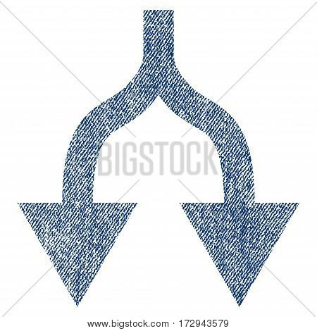 Split Arrows Down vector textured icon for overlay watermark stamps. Blue jeans fabric vectorized texture. Symbol with unclean design. Blue ink rubber seal stamp with fiber textile structure.
