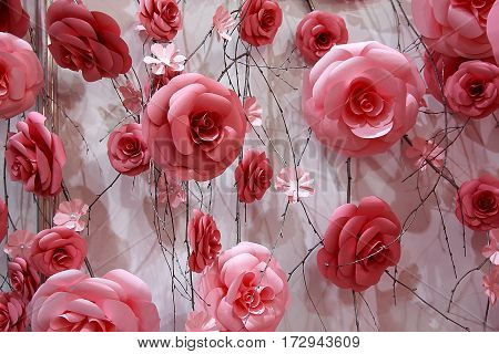 Beautiful background of red roses. Wedding decorations