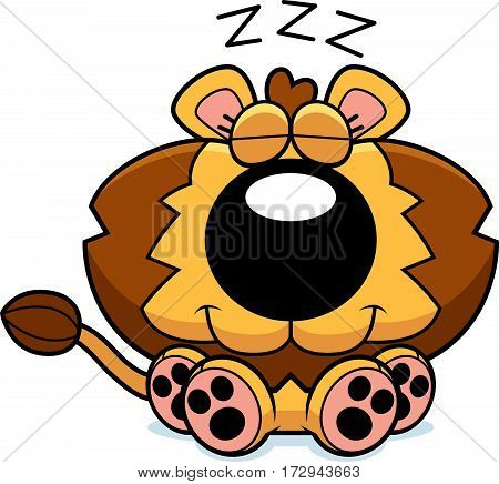 Cartoon Lion Cub Napping