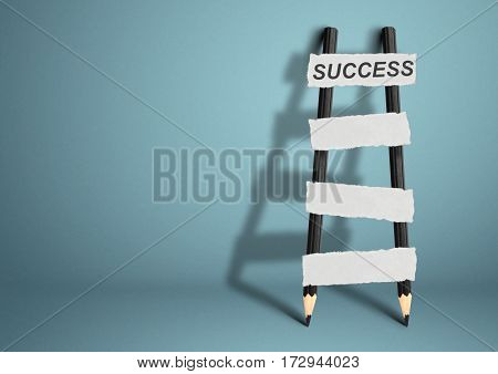 way to success concept pencil Ladder with blank stairs