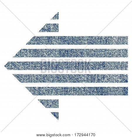 Stripe Arrow Left vector textured icon for overlay watermark stamps. Blue jeans fabric vectorized texture. Symbol with scratched design. Blue ink rubber seal stamp with fiber textile structure.