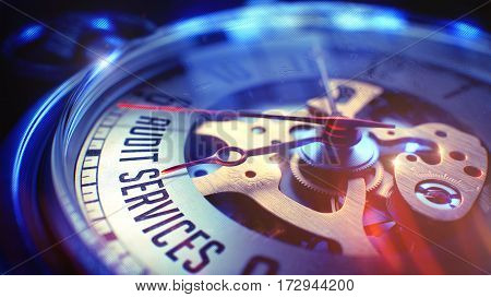 Pocket Watch Face with Audit Services Inscription on it. Business Concept with Film Effect. Audit Services. on Pocket Watch Face with Close Up View of Watch Mechanism. Time Concept. Film Effect. 3D.