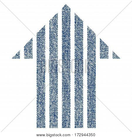 Stripe Arrow Up vector textured icon for overlay watermark stamps. Blue jeans fabric vectorized texture. Symbol with dirty design. Blue ink rubber seal stamp with fiber textile structure.