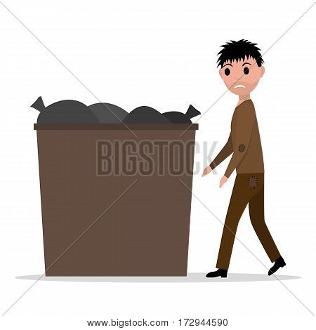Vector illustration cartoon hobo homeless jobless man to garbage can, dumpster. Isolated white background. Young beggar guy rummaged in a trash can. Flat style. Male poverty, hopelessness, misery.