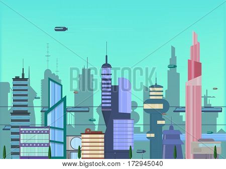 Banner for web design. Future city flat illustration. urban cityscape template with modern buildings and futuristic traffic.