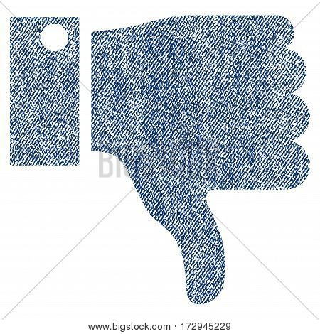 Thumb Down vector textured icon for overlay watermark stamps. Blue jeans fabric vectorized texture. Symbol with dust design. Blue ink rubber seal stamp with fiber textile structure.