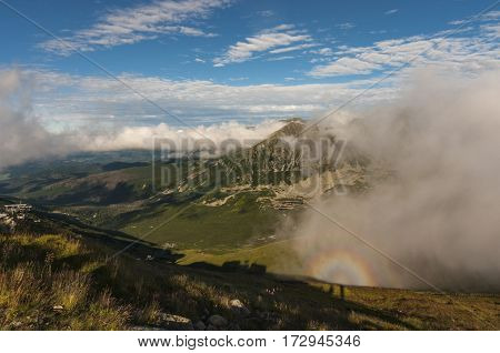 Montain landscape with Brocken spectre. Tatry .
