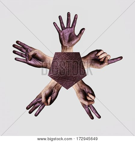 Five Human Hands isolated on gray Background
