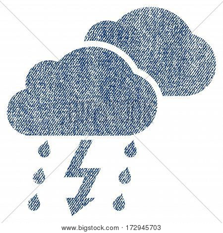 Thunderstorm Clouds vector textured icon for overlay watermark stamps. Blue jeans fabric vectorized texture. Symbol with dirty design. Blue ink rubber seal stamp with fiber textile structure.