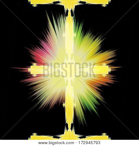 Abstract fractal background with gold glowing cross. Background with spectral rays and religious symbol