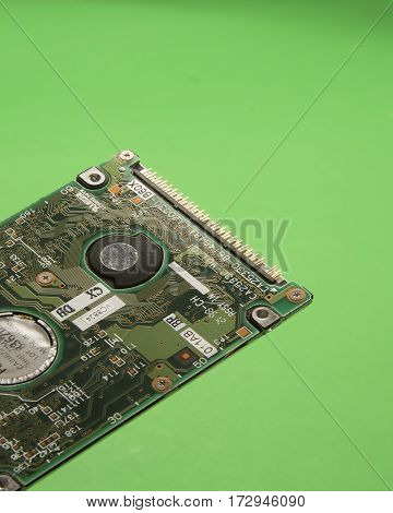 Circuit board showing integrated circuits for a computer