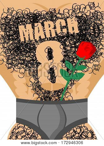 March 8. Red Rose And Male Hairy Torso. Epilation Number Eight. Men's Gift For International Women's