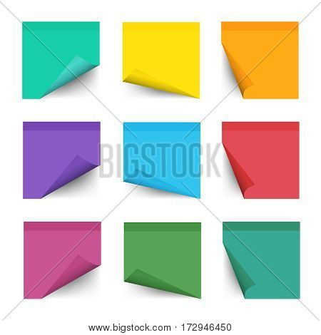 Paper work notes isolated on white background. Sticky note paper for noticeboard with curled corners vector illustration. Colored sticker bank with curl corner