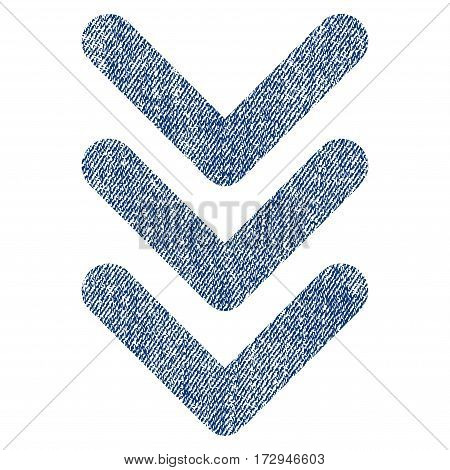 Triple Arrowhead Down vector textured icon for overlay watermark stamps. Blue jeans fabric vectorized texture. Symbol with scratched design. Blue ink rubber seal stamp with fiber textile structure.