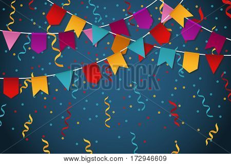 Blue flag garland party celebration background for feast banner vector illustration. Colored banner with flag and garland