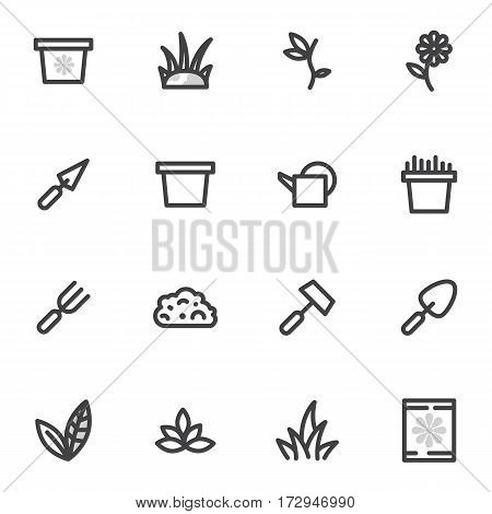 set of vector icons of gardening, garden, breeding colors on a light background.