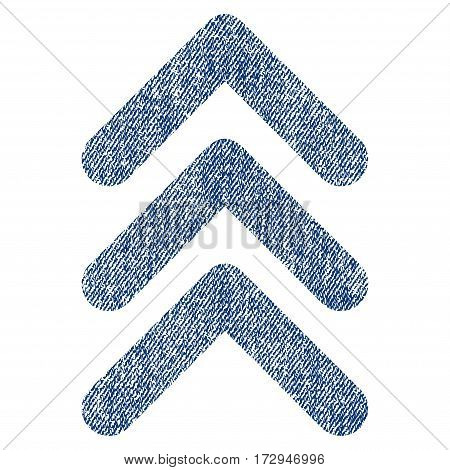 Triple Arrowhead Up vector textured icon for overlay watermark stamps. Blue jeans fabric vectorized texture. Symbol with scratched design. Blue ink rubber seal stamp with fiber textile structure.