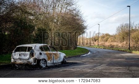 Abandoned And Burnt-out Car