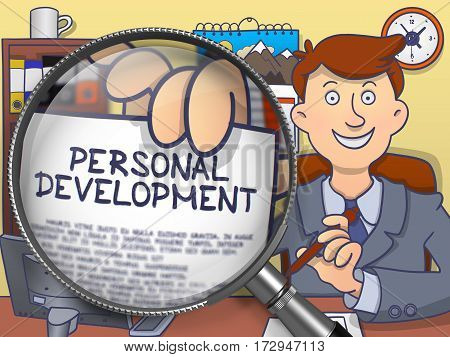 Man in Suit Holds Out a Text on Paper Personal Development Concept through Magnifying Glass. Closeup View. Colored Modern Line Illustration in Doodle Style.