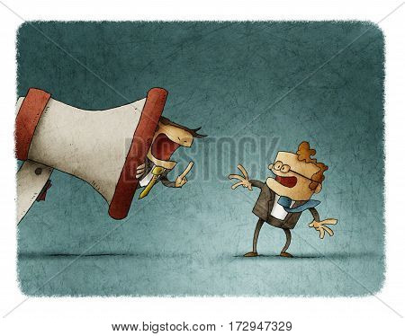 Boss is inside a giant megaphone and shouting an employee