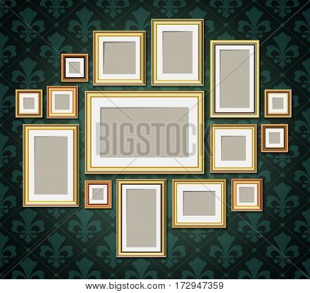 Antique vintage wooden photo frames collection. Retro portrait picture borders set on wallpaper in baroque style illustration