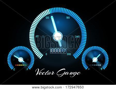 Car dashboard with speed, power and fuel gauge meters. Speed vector concept. Dashboard car with speedometer and control panel illustration