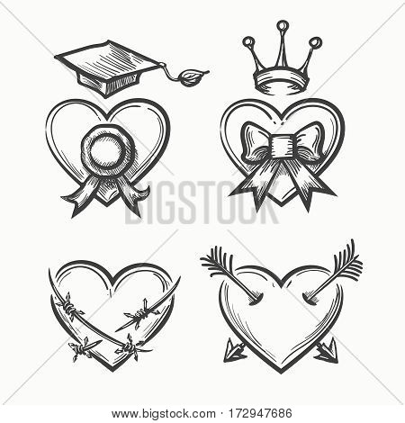 Hand drawn hearts in tattoo sketch style. Heart with crown and arrow, bow and graduation cup vector illustration. Abstarct grunge hearts of set