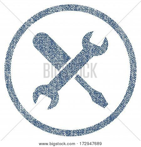 Tuning vector textured icon for overlay watermark stamps. Blue jeans fabric vectorized texture. Symbol with dirty design. Blue ink rubber seal stamp with fiber textile structure.