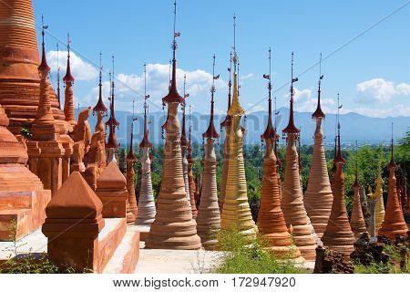 Hundreds of stupas built in Indein Village, Myanmar