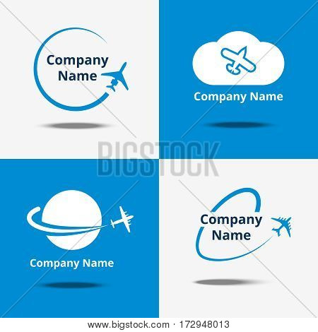 Plane logo set. Vector air travel logos or flight airplane travelling signs with blue background. Logo for transportation company illustration