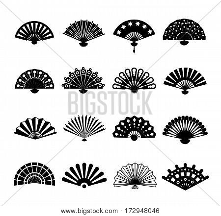 Hand paper fan vector icons. Chinese or japanese beautiful fans isolated. Monochrome japanese souvenir fans illustration