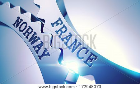 France Norway on Metallic Gears, Enterprises Illustration with Glowing Light Effect. France Norway Shiny Metal Cog Gears - Business Concept. with Glowing Light Effect. 3D Render.