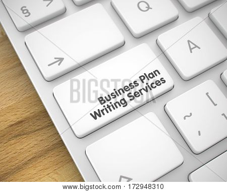 Text on Keyboard Enter Keypad, for Business Plan Writing Services Concept. Service Concept: Business Plan Writing Services on Aluminum Keyboard Background. 3D Render.
